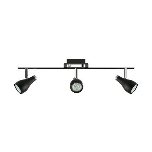 Kinga LED mennyezeti lámpa, fekete/króm, 3xGU10