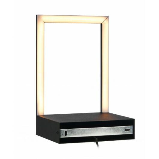 MARKSLÖJD PABLO fali LED lámpa polccal 7WModern megjelenésű kültéri fekete fali lámpa, 2 db G9-es foglalattal.