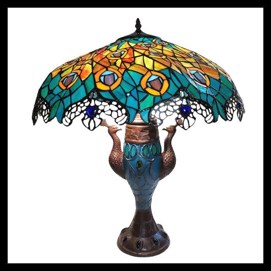 Filamentled Peacock, Tiffany asztali lámpa - 68 cm