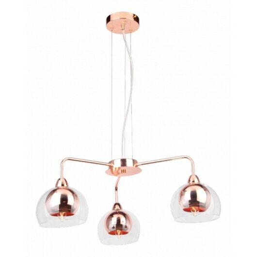 Modern vörösréz, fém, üveg 3 ágú mennyezeti lámpa-Cirta