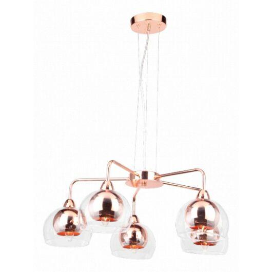 Modern vörösréz, fém, üveg 5 ágú mennyezeti lámpa-Cirta