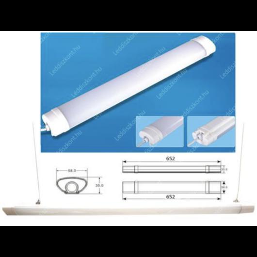 Led Tri-proof, IP65 vízálló ipari lámpa, 66 cm, 18W, 1860 lumen, 58mm, 4000K, közép fehér
