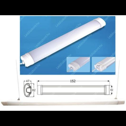 Led Tri-proof, IP65 vízálló ipari lámpa, 150 cm, 74W, 7450 lumen, 58mm, 4000K, közép fehér