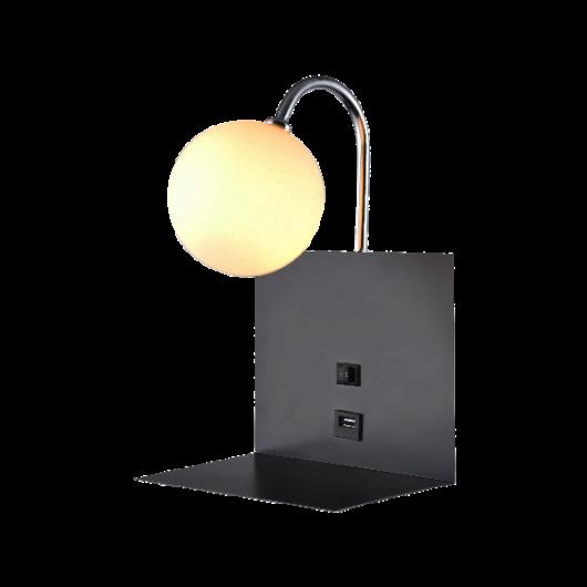 BETTY fali lámpa 1xG9 USB csatlakozóval, fekete